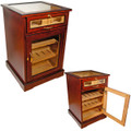 WINE AND CIGARS CABINET HUMIDOR - CHERRY AFRICAN BUBINGA WOOD EXTERIOR - SPANISH CEDAR INTERIOR - END TABLE HUMIDORS - POLISHED BEVELED GLASS - FREE SHIPPING
