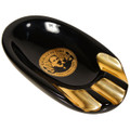 MANO ASHTRAYS FOR CIGARS - BLACK ONYX PORCELAIN WITH GOLD - THREE GROOVES