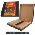 TRAVEL HUMIDOR FOR CIGARS - LEATHER HUMIDOR - J.L. SALAZAR ROLLER TABLE EDIN ART - 10 CIGAR CAPACITY