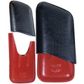 Cuban Crafters Cuba Cigar Leather Cases Black and Red 3 Fingers