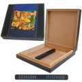 LEATHER TRAVEL HUMIDOR - EDIN MAP OF CUBA ART - 10 CIGAR CAPACITY