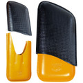CUBAN CRAFTERS CUBA LEATHER CIGAR CASE - BLACK AND YELLOW - 3 FINGERS