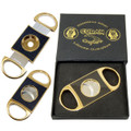 GOLD CIGAR CUTTER - CUBAN CRAFTERS CARBON FIBER PERFECT CUTTERS - CUTS THE EXACT AMOUNT OFF THE CIGAR HEAD - FOR ALL RING GAUGES