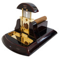 TABLETOP CIGAR CUTTER MESA FINA NEGRO - HIGH GLOSS BLACK WOOD WITH GOLD TRIM