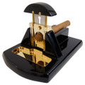 Desk Cigar Cutter Mesa Exotica High Gloss Black Wood with Gold