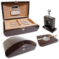 Humidor Gift Set Tesoro Includes Dome Humidor Matching Tabletop Cutter and Ashtray - Free Shipping