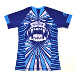 "MANTO ""BEAST"" RASH GUARD Short Slv Blue for Kids"