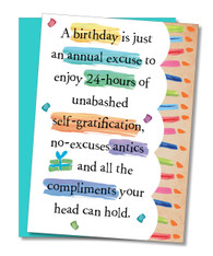 """Annual Excuse..."" Birthday Card"