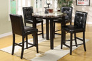 FA3188PT40 - Atlas IV Black Solid Wood and Bonded Leather 5 Piece Counter Ht. Table with Faux Marble Top