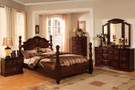 FA7571 - Tuscan II Dark Pine Solid Wood Poster Bed
