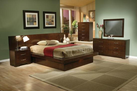 C200711P   Huntsville I Light Cappuccino Solid Wood With NS Panels Platform  Bed With Ambient Lighting Under The Rails