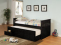 C300104 - Rochelle Black Solid Wood Captin Bed with Trundle