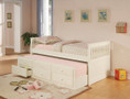C300107 - Faron White Solid Wood Captin Bed with Trundle