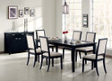 C101561 - Fruma Distress Black Solid Wood & Crème Chemile 7 Piece Standard Height Dining Set