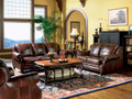 C500661 - Rahman Cognac Tri-Tone Leather Sofa & Love Seat