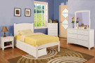 FA7902WH - Caren White Solid Wood Panel Trundle Bed