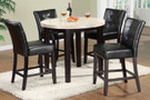 FA3866PT40 - Marion III Espresso Genuine Marble Top & Solid Wood 5 Piece Round Counter Height Dining Set
