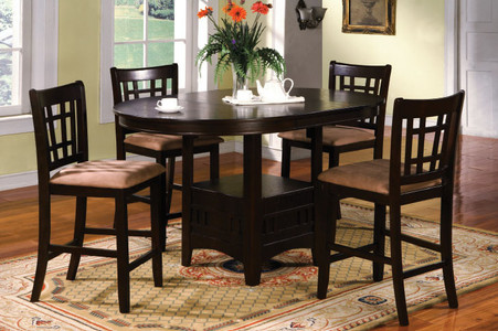 solid wood microfiber 5 piece oval counter height dining set