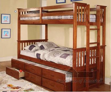 Fabk458t university oak solid wood twin twin bunk bed with trundle and storage drawers - Solid wood trundle bed with drawers ...