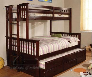 Fabk458f university espresso solid wood twin full bunk bed with trundle and storage drawers - Solid wood trundle bed with drawers ...