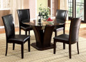fa3710rt - Colette Dark Cherry Solid Wood Five Piece Glass Top Dining Set