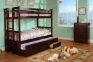 fabk458texp - University Expresso Solid Wood Twin/Twin Bunk Bed with Trundle and Storage Drawers