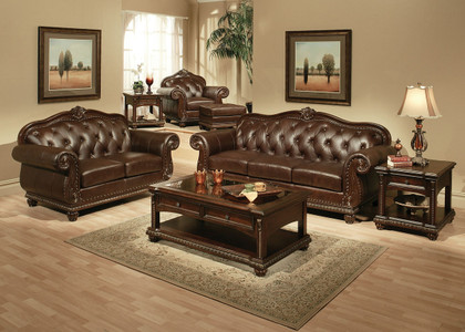 Ac15030 Anondale Brown Cherry Top Grain Genuine Split Leather Sofa And Love Seat