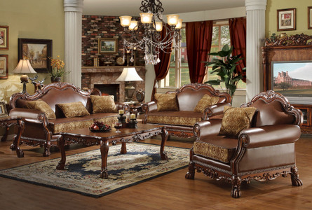 Ac15160   Dresden Cherry Oak Chenille And Bonded Leather Sofa And Love Seat