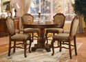 """ac04082 - Chateau De Ville Cherry   Solid Wood And Chenille 5 Piece Diing Set 48"""" Dia"""