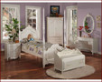 ac01000 - Princess Pearl White Solid Wood Post Bed