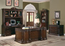 JUSTINE RICH BROWN DESK WITH FELT LINED TOP DRAWERS, KEYBOARD DRAWER, AND STORAGE