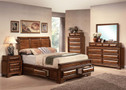 Konane Brown Cherry Solid Wood Adult Bed w/Storage