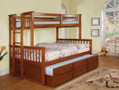 FABK458FOAK - University I Oak Twin/Full Bunk Bed With Twin Trundle Bed and Storage Drawers