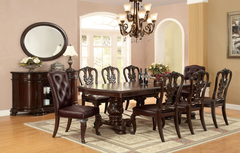 Fa3319t Bellagio Brown Cherry Finish Solid Wood 9 Piece Dining Set
