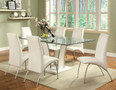 FA8372 - Glenview White Padded Leatherette Glass Top 7 Piece Dining Set