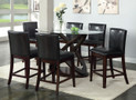 FA3774PT - Atenna Dark Walnut Solid Wood/ Leatherette Parson 7 Piece Glass Top Dining Set