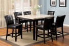 FA3866PT - Marion II Espresso Finish Solid Wood/ Leatherette Parson 7 Piece Genuine Marble Top Dining Set
