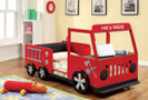 FA7767 - Rescuer Red Fire Truck Strudy Metal Childrens Bed