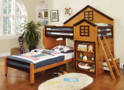 FABK131AW - Citadel Oak/ Walnut Finish Solid Wood Twin/ Twin Loft Bed
