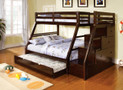 FABK611EX - Ellington Dark Walnut Finish Solid Wood Twin/ Full Bunk Bed