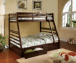 FABK588EX - California III Dark Walnut Solid Wood Twin/ Full Bunk Bed w/ Two Drawers