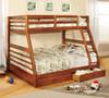 FABK588A - California III Oak Finish Solid Wood Twin/ Full Bunk Bed w/ 2 Drawers
