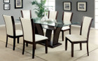 FA3710WH - Manhattan I White Solid Wood / Padded Leatherette/ Glass Top Dining Set
