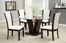 FA3710RTWH - Manhattan I White Solid Wood / Padded Leatherette / Glass Top Dining Set