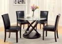 FA3774T - Ateena I Dark Walnut Solid Wood Glass Top 5 Piece Dining Set