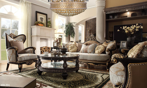 HD551   Bulgaria Black And Gold Wood Trim Sofa And Love Seat