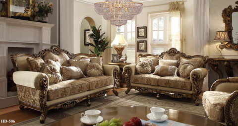 HD506   Argentina Ivory Gold Upholstered Sofa And Love Seat