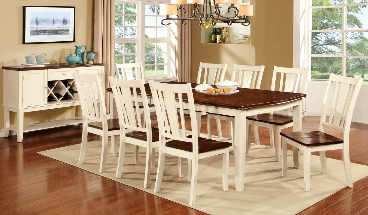 FAT DOVER II WHITE WASHCHERRY PC SOLID WOOD DINING TABLE - White wash wood dining room table