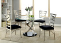 FA3729T - ROXO SILVER METAL GLASS TOP 5 PC DINING TABLE