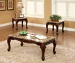 FA4487 - Lechester Dark Oak Solid Wood / Faux Marble 3 pc Coffee Table Set